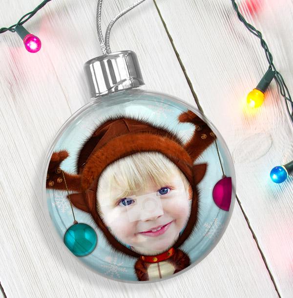 Funny Reindeer Photo Bauble