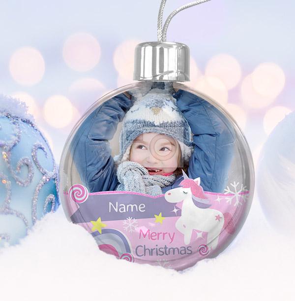 Unicorn Photo Christmas Bauble
