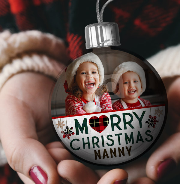 Merry Christmas Photo & Name Bauble