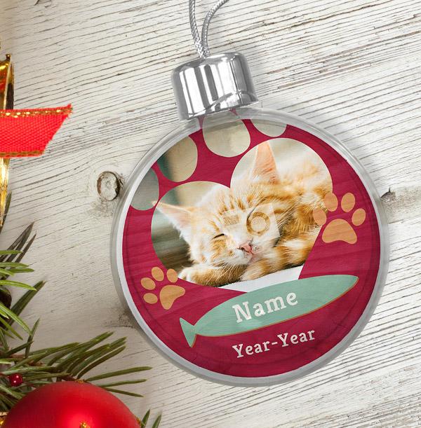 Cat Memorial Photo Bauble