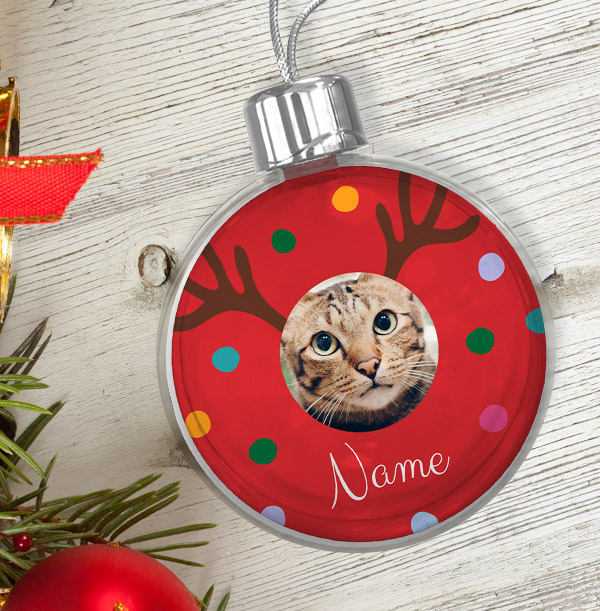 Personalised Pet Photo Bauble - Red