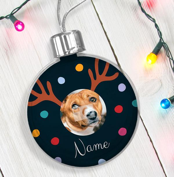 Personalised Pet Photo Bauble - Reindeer