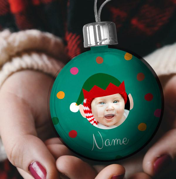 Personalised Elf Photo Bauble - Blue