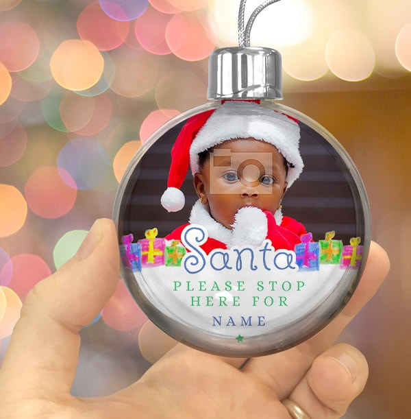 Santa stop here Personalised Bauble - Blue Text
