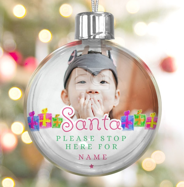 Santa stop here Personalised Bauble - Pink Text