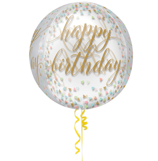 ZDISC Happy Birthday See Through Confetti Balloon