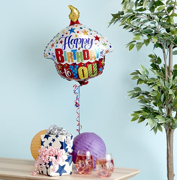 Happy Birthday To You Cupcake Balloon