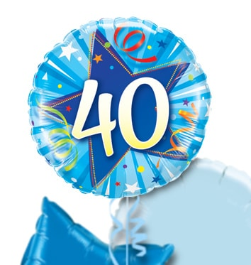 40th Birthday Blue Star Balloon Bouquet
