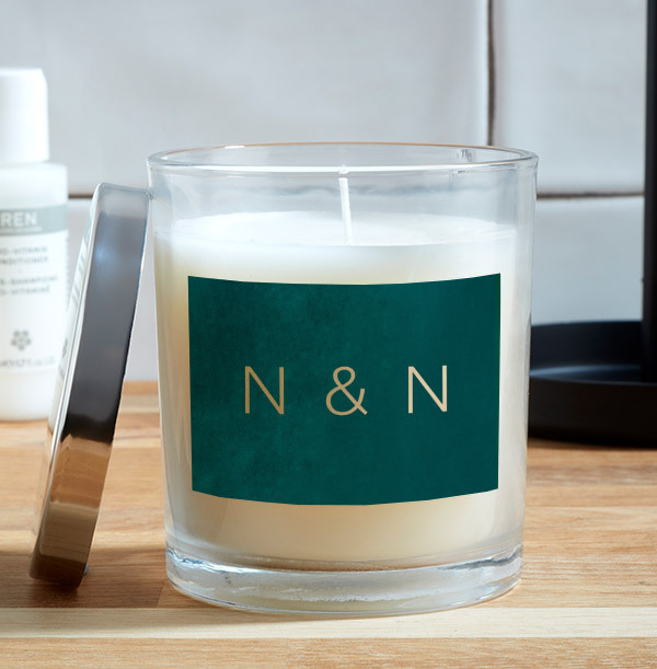 Green and Gold Personalised Initials Candle