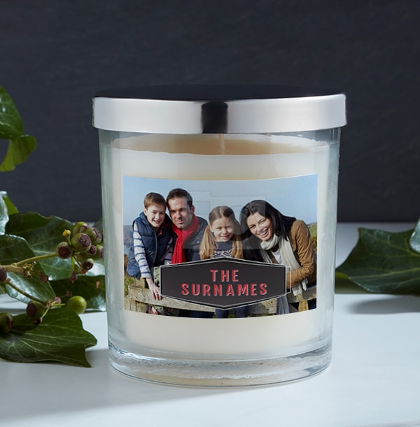 Family Name Personalised Photo Candle