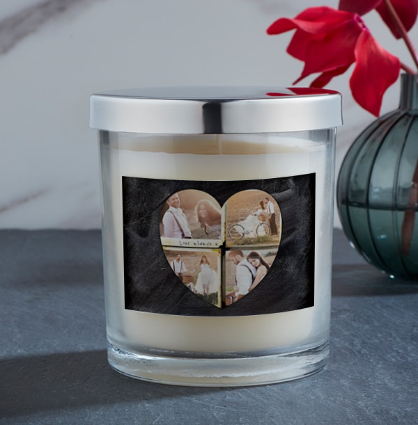Four Photo Heart Candle