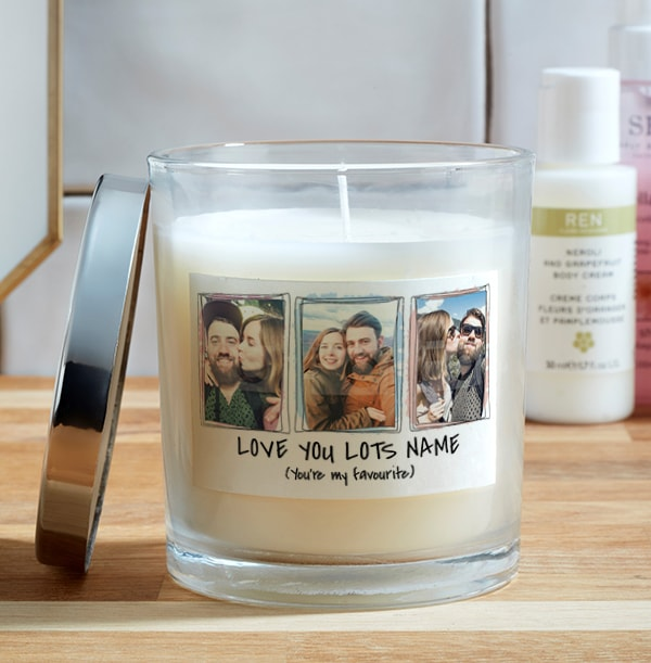 Love You Romantic Photo Candle