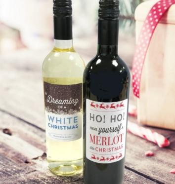 Red & White Christmas Wine Gift Set
