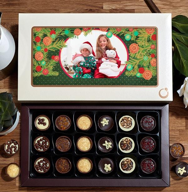 Personalised Christmas Photo Chocolates - Box of 18