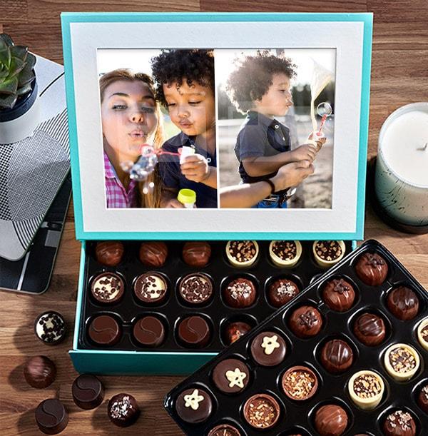 Personalised 2 Photo Chocolates - Box of 60