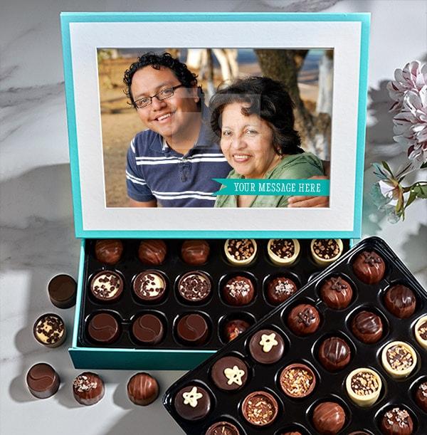 Personalised Photo & Message Chocolates - Box of 60