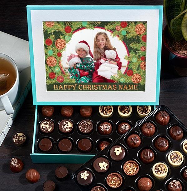 Personalised Christmas Photo Chocolates - Box of 60