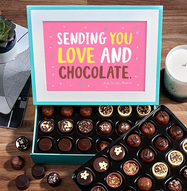 Sending You Love Personalised Chocolate - Box of 60