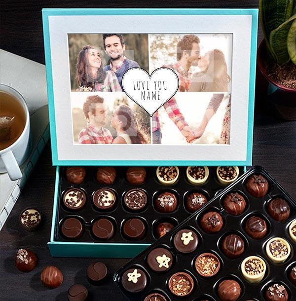Personalised Love You Photo Chocolates - Box of 60