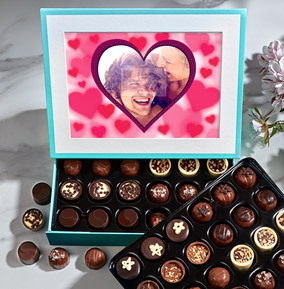 Personalised Heart Photo Valentine's Chocolates - 60