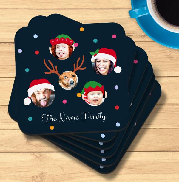 Family Christmas Photo Coaster