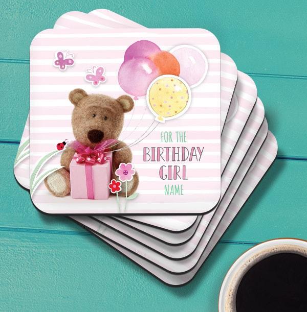 Birthday Girl Barley Bear Personalised Coaster
