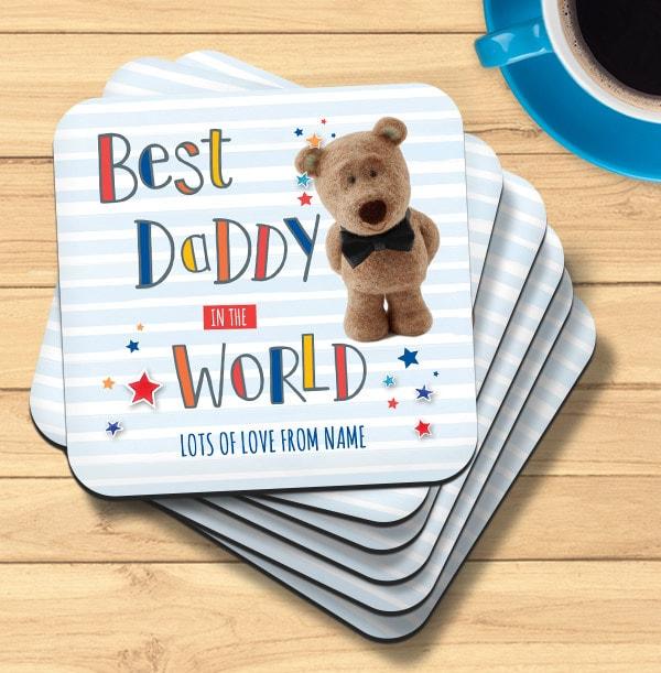 Best Daddy Barley Bear Personalised Coaster