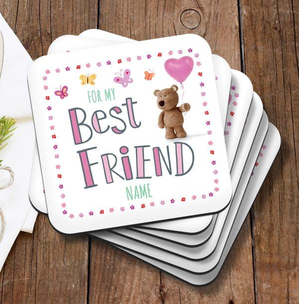 Best Friend Barley Bear Personalised Coaster