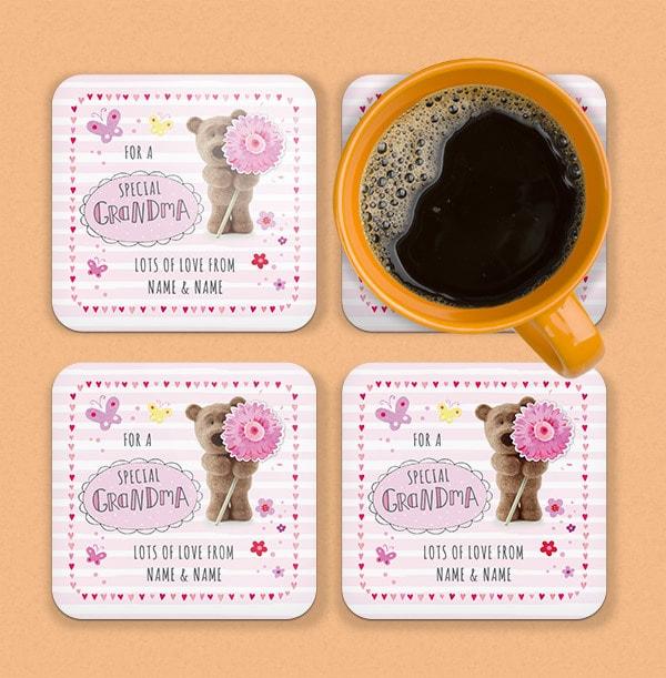 Special Grandma Barley Bear Personalised Coaster
