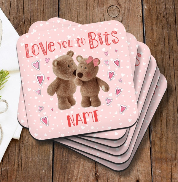 Love You Barley Bear Personalised Coaster