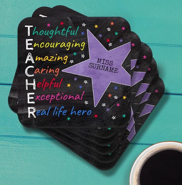Star Teacher Personalised Coaster