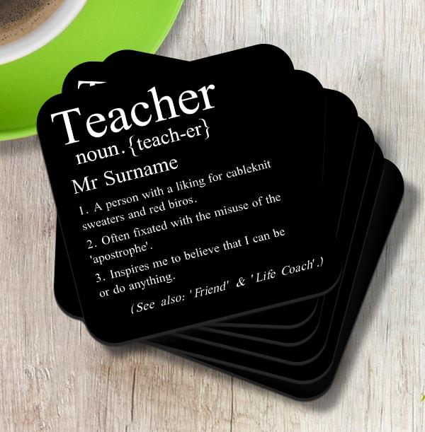 Teacher Definition Personalised Coaster