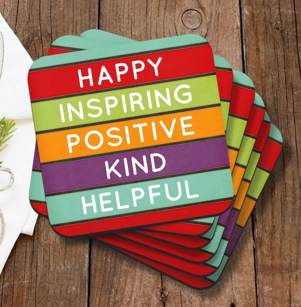Happy Inspiring Personalised Coaster