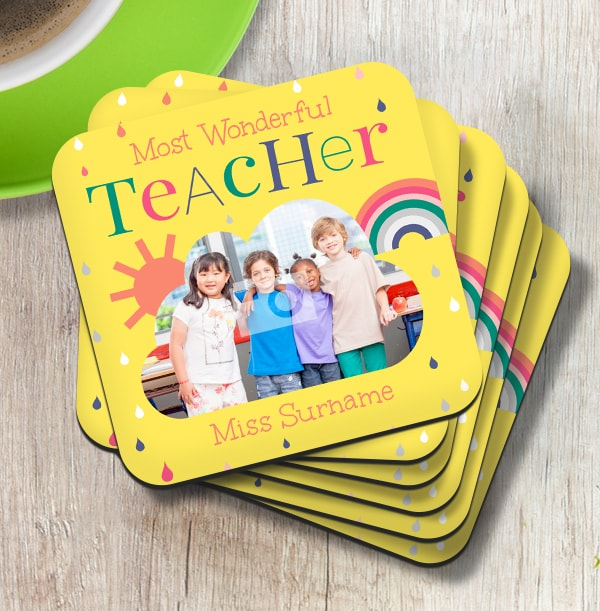 Most Wonderful Teacher Photo Coaster