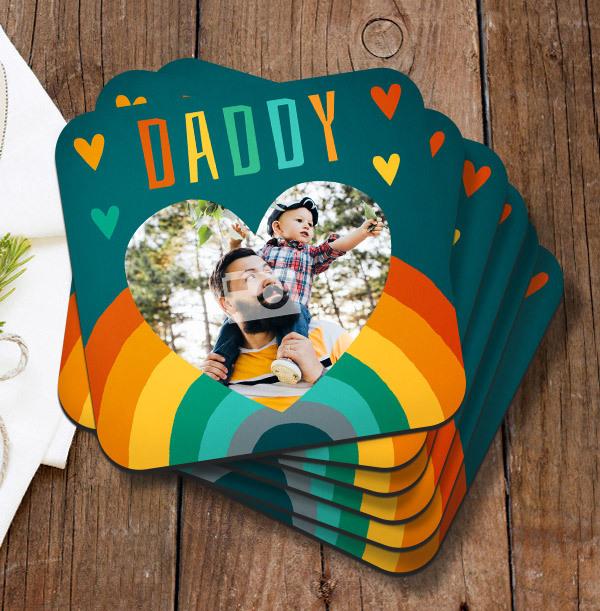 Daddy Rainbow Photo Coaster