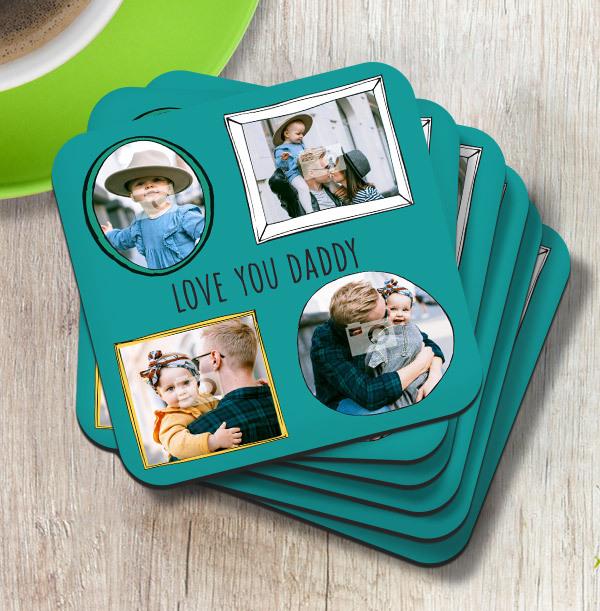 Love You Daddy Multi Photo Coaster