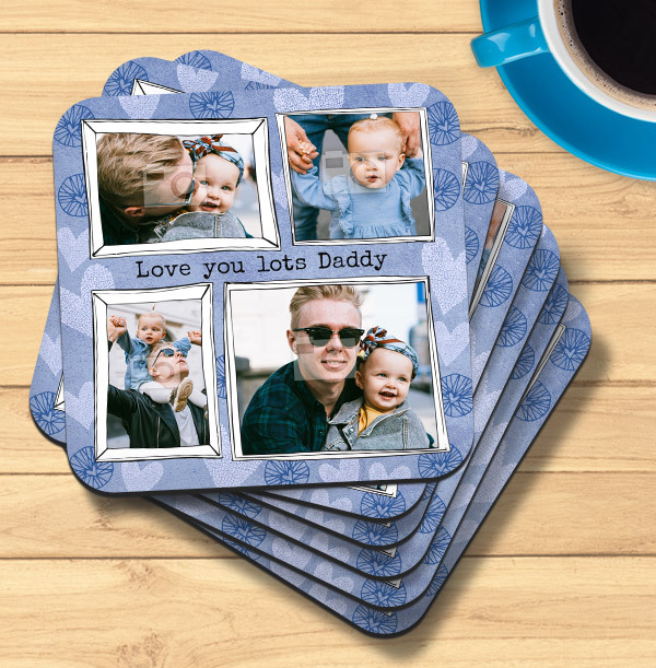 Love You Lots Daddy Multi Photo Coaster