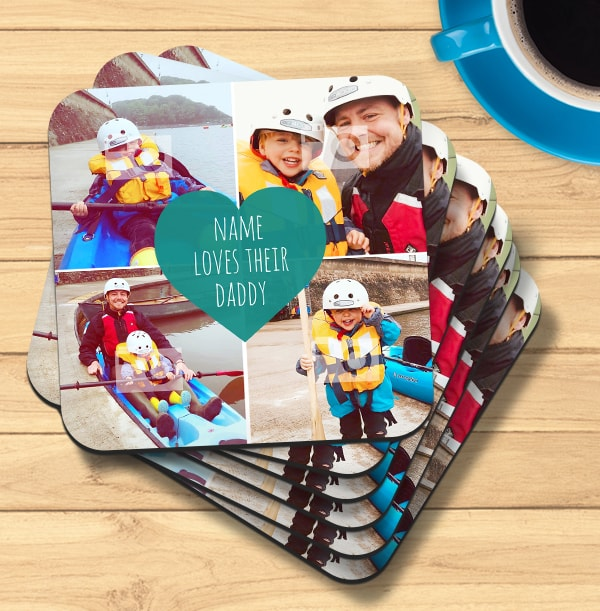 Love Their Daddy Multi Photo Coaster
