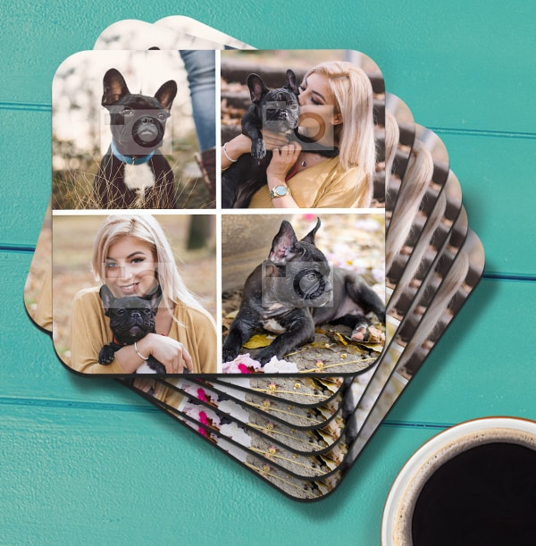 Coaster with 4 Square Photos