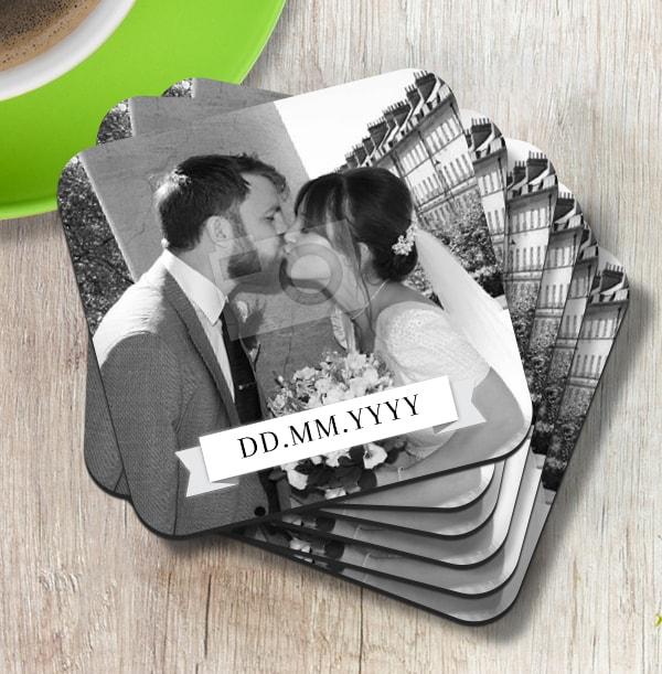 Black & White Wedding Coaster - White Banner