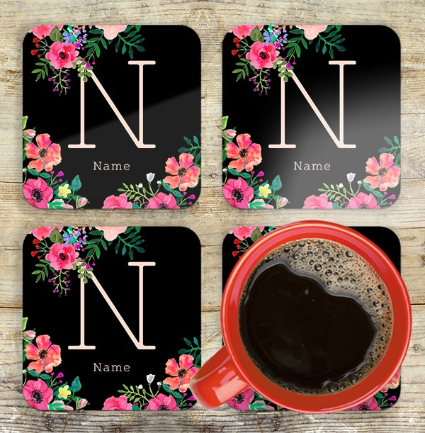 Personalised Floral Initial Coaster