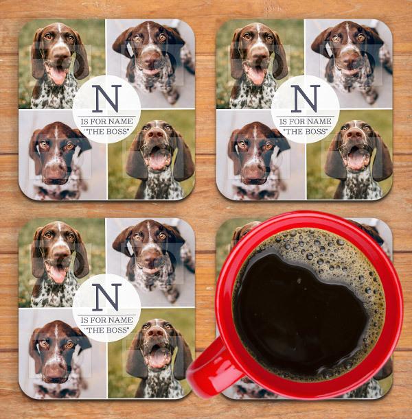 Dog Boss Photo Personalised Coaster