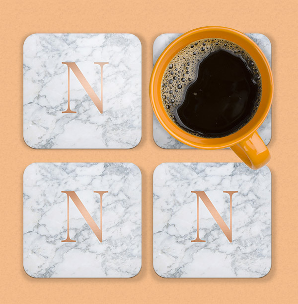 Marble Initial Personalised Coaster
