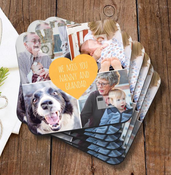 Miss You Nanny & Grandad Photo Coaster