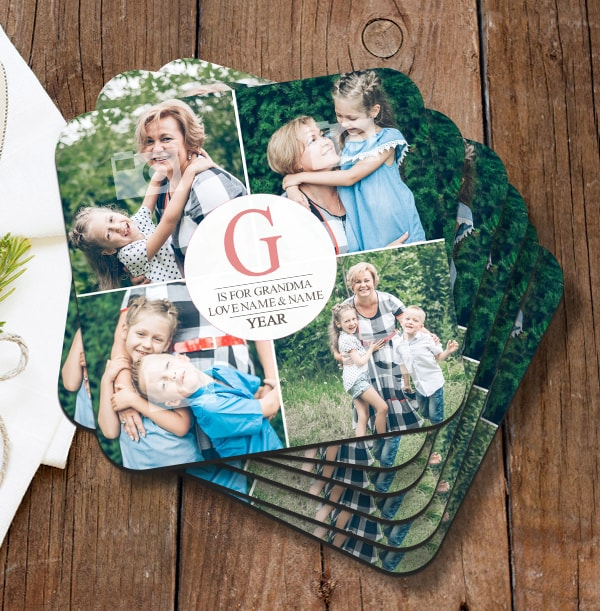 G Is For Grandma Photo Collage Coaster