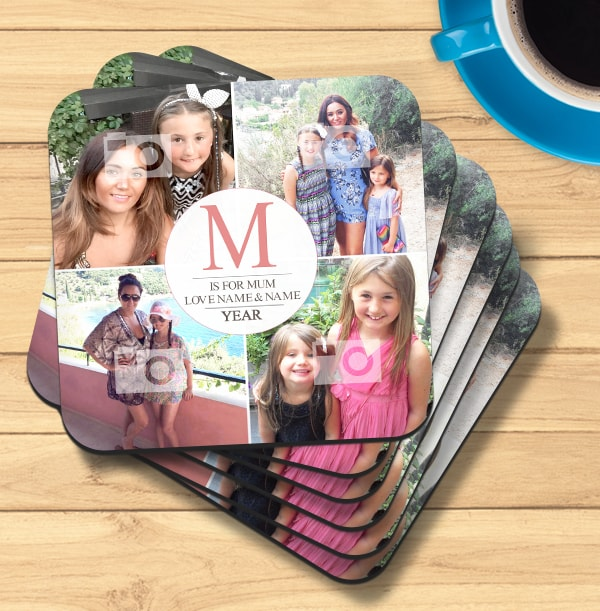 M Is For Mum Photo Collage Coaster