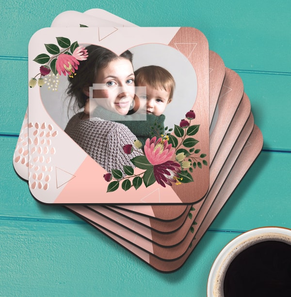 Floral Heart Photo Coaster
