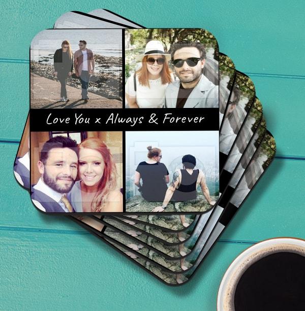 Romantic Photo Collage Coaster