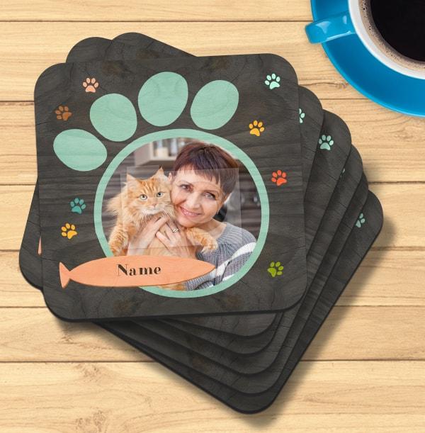 Cat Paw Print Photo Coaster