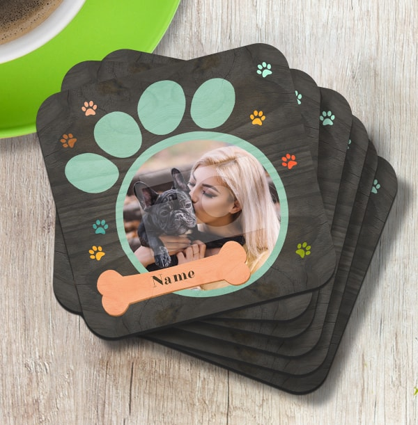 Dog Paw Print Photo Coaster